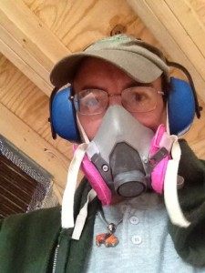 I do suggest wearing a particle mask when cutting treated lumber, and ear protection when using power saws.